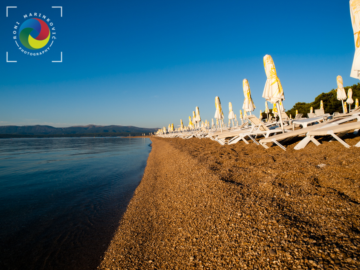 Zlatni rat beach in the summer morning